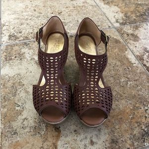 Shoes - Mexican Wedge Sandals with Ankle Straps - 8